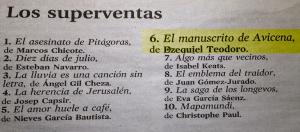 ¡¡¡El manuscrito de Avicena el 6º libro más vendido en 2013 en Amazon!!!