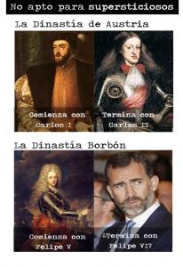 Carlos I empieza y Carlos II acaba en los Austria. Felipe V empieza en la Casa de los Borbones y Felipe VI llega ahora...